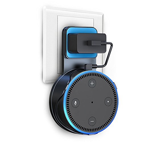 Wall Mount Stand For Echo Dot 2nd Generation, V-Techology Hanger Holder With Charging Cable For Dot, A Space-Saving Solution for Your Smart Home Speakers without Messy Wires or Screws (Black)