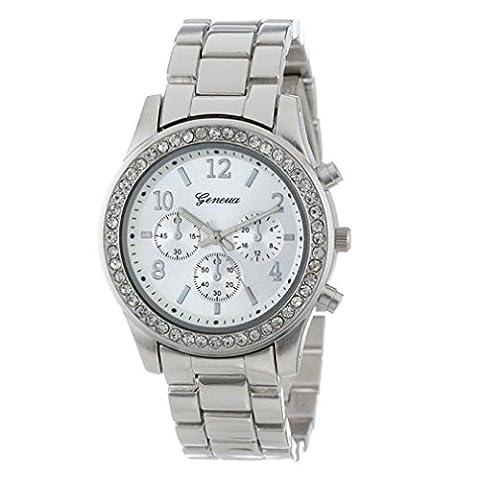 Fullfun Fashion Quartz Jewelry Plated Classic Round Men Women Crystals Geneva Watch (C) (Geneva Watches Men Gold)