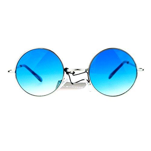 SA106 Color Groovy Hippie Wire Rim Round Circle Lens Sunglasses Gradient - Rim Glasses Circle