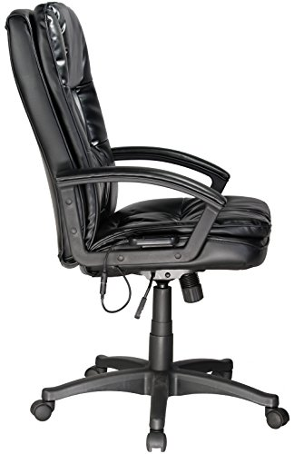 Comfort Products 60-6810 Leather Executive Chair with 5-Motor Massage, Black