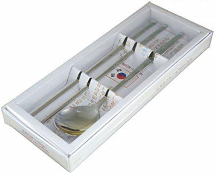 Chopsticksser Heron design Coppia di bacchette coreano/ /in acciaio INOX Tradizionale coreano tavola cucchiaio