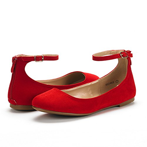 DREAM PAIRS Womens Sole-Nice Ankle Strap Walking Flats Shoes Red Suede AQwm0