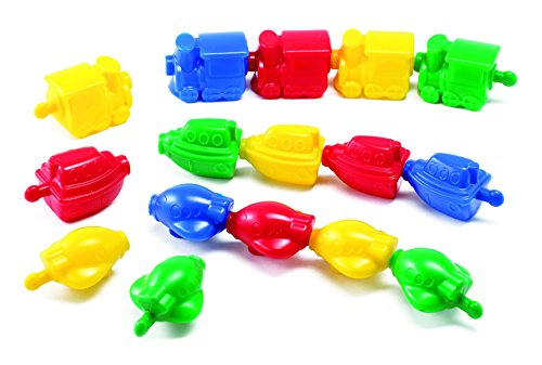 Learning Advantage Transportation Linking Blocks - Pack of 36 - Early Construction - Trains, Planes and Boats - Sorting and Sequencing