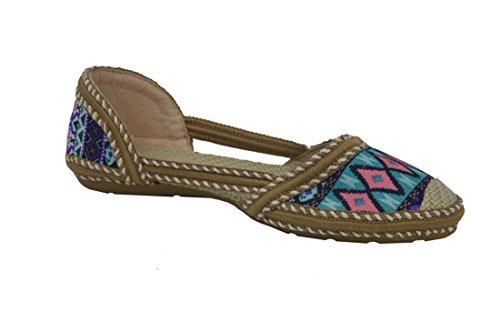 TATTOPANI Women's colorful Slip-On Ballerina Comfort Flat Shoes Blue liZ6YY1fL