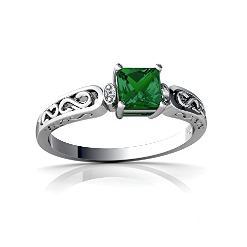 14kt White Gold Lab Emerald and Diamond 4mm Square filligree Scroll Ring - Size 5