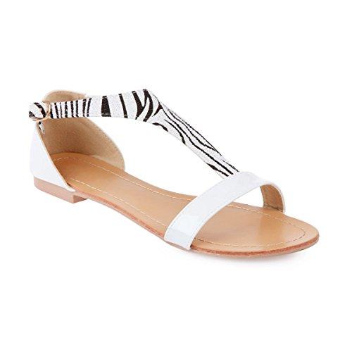 La Modeuse-Sandalias con pestaña zebrée, diseño de pintauñas Blanco - blanco