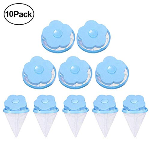 HGWXX7 Flower Type Washing Machine Floating Lint Mesh Bag Household Hair Filter Net Pouch Laundry Filter Bag Blue 10 Pieces (Best Type Of Washing Machine)