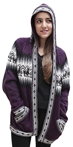 Little Llamas Hooded Alpaca Wool Knitted Jacket Hoodie Sweater (Medium, Plum) (Sweaters Peru Alpaca)
