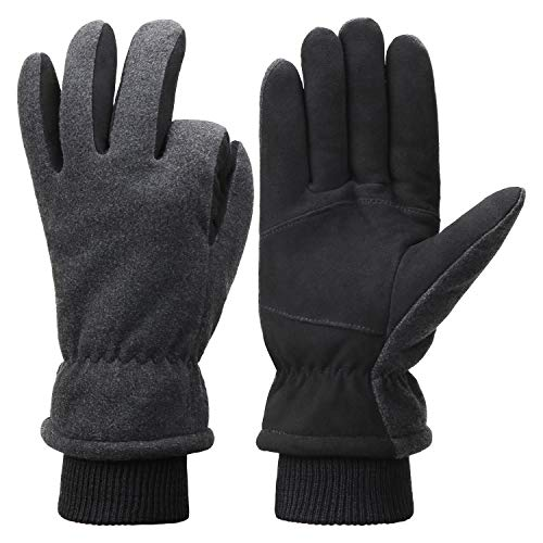 - Fantastic Zone Men Winter Gloves, -20°F Cold Proof Thermal Gloves, Deerskin Suede Leather Palm and Polar Fleece Back with Heatlok Insulated Cotton Layer - Keep Warm in Cold Weather Grey/Black-2 Small