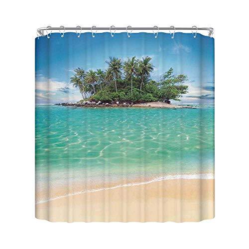 C COABALLA Island Durable Shower Curtain,Tropical Island Sandy Seaside Clear Water Honeymoon Destination Waterscape for Bathroom,70.8