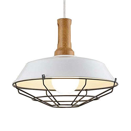 SUSUO Lighting 1 Light Wooden Hanging Farmhouse Light Fixture Warehouse Shade Barn Pendant Light with Wire Cage Review