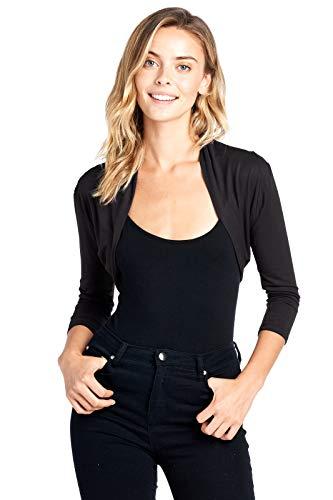 Modern Kiwi Solid Long Sleeved Bolero Shrug Top Black Extra Large