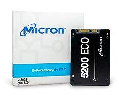 "Micron 5200 ECO   MTFDDAK7T6TDC-1AT1ZABYY   7.68TB 2.5"" SATA 6GB/S 64-Layer 3D TLC NAND   3 Million Mttf   Industry Leading Solid State Drive SSD"