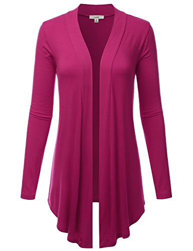 - LALABEE Women's Draped Open-Front Long Sleeve Light Weight Cardigan-Magenta-S