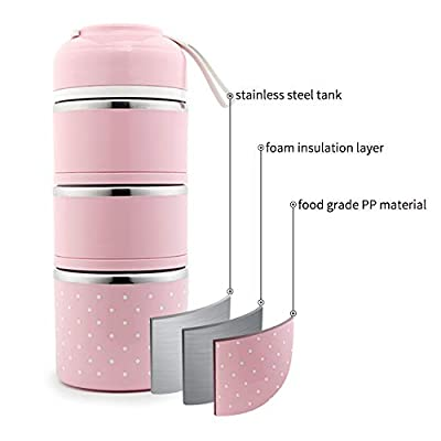 YBOBK HOME Bento Lunch Box Leakproof Stainless Steel Stackable Lunch Box with Bag and Reusable Flatware Set Thermal Food Storage Container for Healthy On-the-Go Meal and Snack Packing (3-Tier, Pink): Kitchen & Dining
