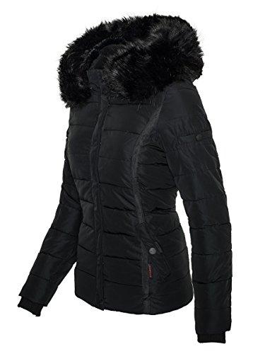 con sintetica trapuntata di collo Nero pelliccia Navahoo rimovibile donna Giacca invernale B355 da ttvYwq