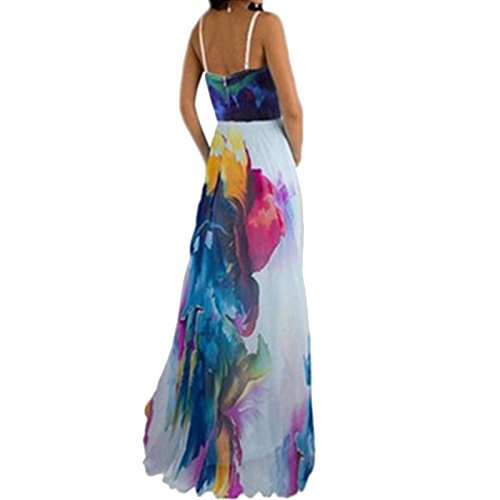Damen ärmellos Print Floral Ethno Abnehmbare Träger Sling Beiläufige Bandeau Beachwear Lang Kleider Trägerkleid Pullikleid Strandkleider
