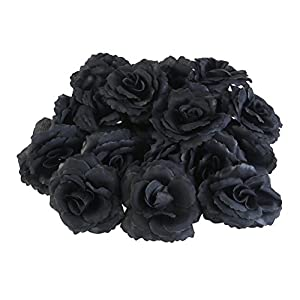 WINOMO 20pcs Silk Rose Flower Heads for Party Home Decoration (Black) 105
