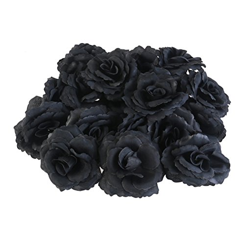 WINOMO 20pcs Silk Rose Flower Heads for Party Home Decoration (Black)]()