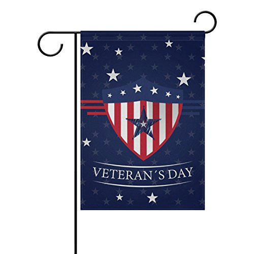 (U LIFE Retro Vintage Happy Veterans Day American Stars and Stripes Garden Yard Flag Banner for Outside House Flower Pot Double Side Print 40 x 28 & 12 x 18)