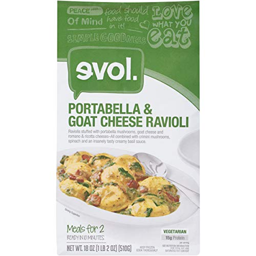 - EVOL Portabella and Goat Cheese Ravioli, Vegetarian, Meals for Two, 15 Grams of Protein Per Serving, 18 Ounce (Frozen)