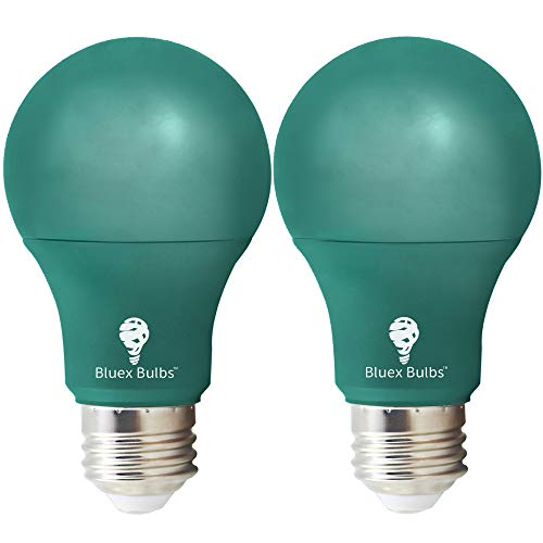 (2 Pack BlueX LED A19 Green Light Bulb - 9W (75Watt Equivalent) - Dimmable - E26 Base Green LED Color Bulb, Party Decoration, Porch, Home Lighting, Holiday Lighting, Decorative Illumination (Green))