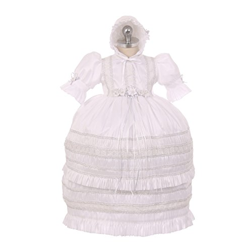 RainKids Baby Girls White Shantung Trim Ruffle 3 Pc Bonnet Baptism Gown 6-9M by The Rain Kids