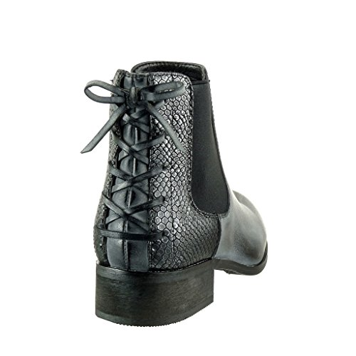 Angkorly - Scarpe da Moda Stivaletti - Scarponcini chelsea boots cavalier stile vintage donna pelle di serpente nodo merletto Tacco a blocco 3 CM - Nero