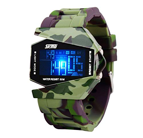 Kids Digital LED Sports Watch, Waterproof Camouflage Electronic Casual Military Wrist Watches with Silicone Band  Noctilucent Plane Design Alarm Stopwatch Children Watch Size S