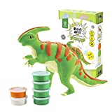 ROBUD DIY Modeling Clay Dinosaur Toy-Cover 3D Wooden Skeleton with Colorful Clay-Air Dry/Non-Toxic/Super-Soft/Eco-Friendly-Best Gifts for Children Ages 3 and Up(Parasaurolophus)