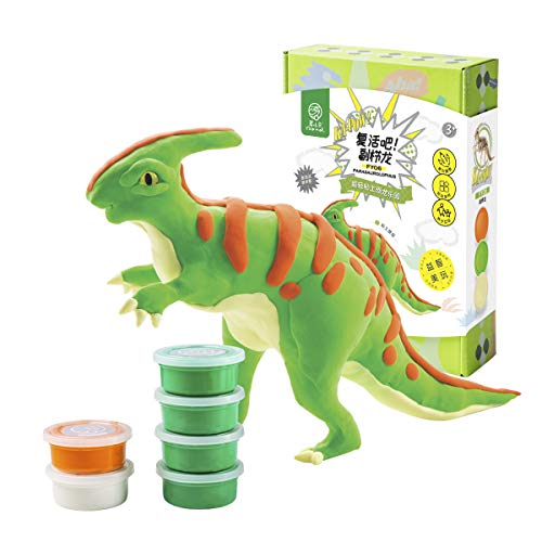 ROBUD DIY Modeling Clay Dinosaur Toy-Cover 3D Wooden Skeleton with Colorful Clay-Air Dry/Non-Toxic/Super-Soft/Eco-Friendly-Best Gifts for Children Ages 3 and -