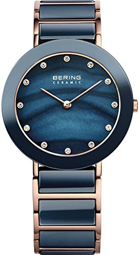 BERING Time 11435-767 Women's Ceramic Collection Watch with Ceramic Link Band and scratch resistant sapphire crystal. Designed in Denmark.