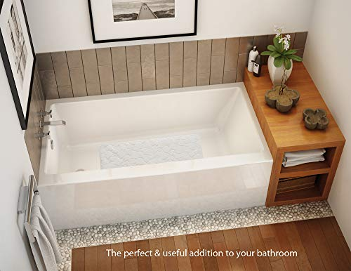 "FeschDesign Non Slip Bath Mat for Tub & Shower | PVC- & BPA-Free, Anti Bacterial, Natural Rubber Bathtub Mat | Original GripTight (TM) Technology | 28"" x 16"", White"