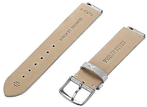 Philip Stein 1-CSFS 18mm Leather Calfskin Silver Watch Strap