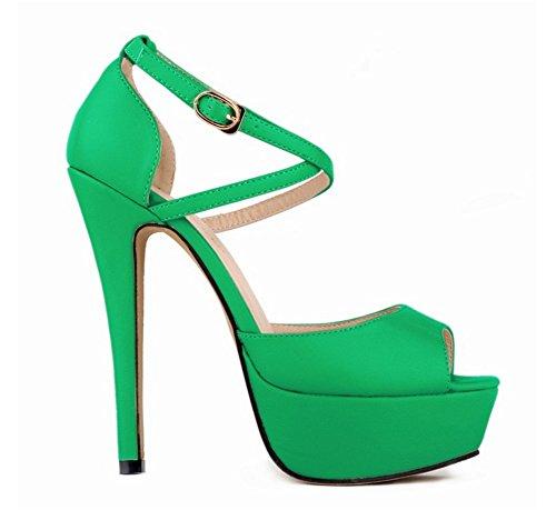 Mujer Plataforma tacón de grande Club Jardín alto 35 green impermeable pescado Sandalias de Zapatos NVXIE nocturno alto 41 tacón Boca de xYCwTnWAzq