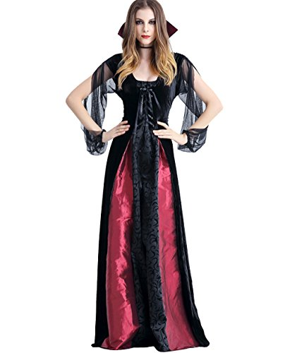 GoLoveY Women's Vampire Queen Costume Maxi Dress Halloween Outfit (Small)