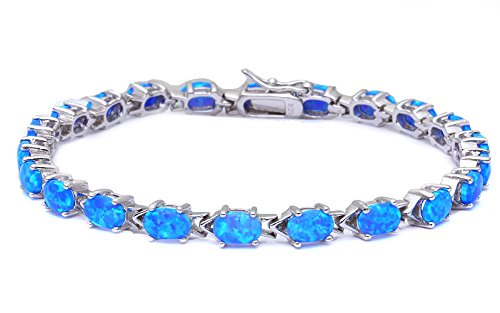 (Oxford Diamond Co Oval Cut Lab Created Blue Opal .925 Sterling Silver Bracelet 7.5