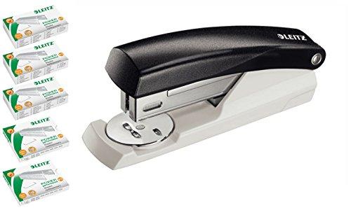 Leitz 55010095 Büroheftgerät Klein NeXXt, 25 Blatt inclusive 5 Päckchen Heftklammen mit je 1.000 Stück (mit extra Heftklammern, schwarz)