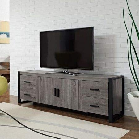 Amazon Com Tv Stands Table Cabinet Driftwood Grey Wood Metal Frame