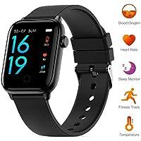 Smart Watch met thermometer functie, groot aanraakscherm Smartwatch Fitness Trackers met hartslag- en bloeddrukmeter, IP68 waterdichte stappenteller slimme armband voor mannen vrouwen