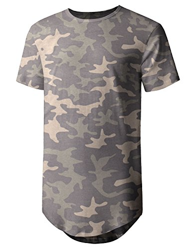 - Hat and Beyond Mens Basic Hipster T Shirts Hip Hop Soft Casual Longline Tee (Large, 1hc01_Khaki camo)