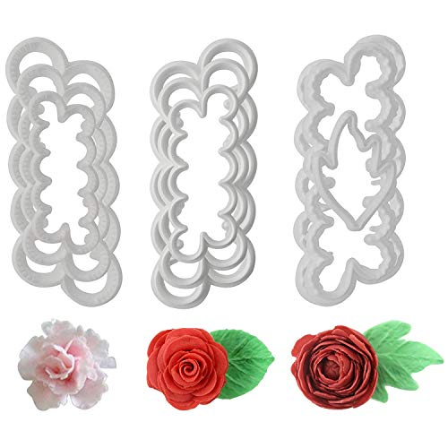 Fyuan Molding Roses Carnations Peony 3D Petal Cake Cutter Flower Fondant Icing Tool Decorating Mould DIY Baking Accessories, 9pcs ()