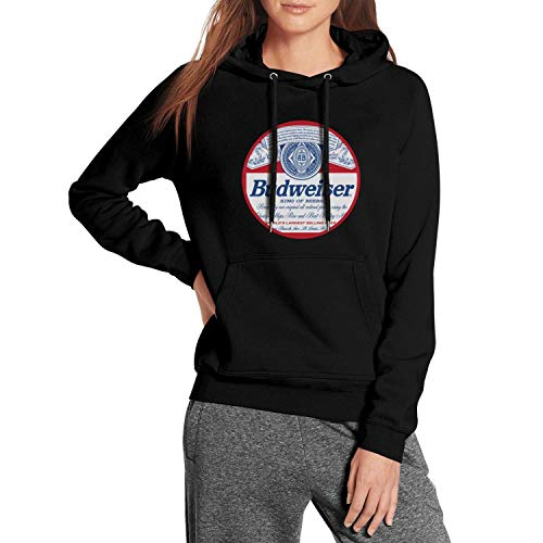 Pockets Wool Warm Vintage Budweiser-Budvar-Beer-Logo Hoodie Sweatshirt for Women