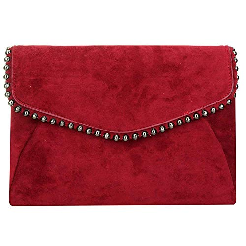 Evening Handbag EROUGE Bag Flannelette Purse Bag Evening Clutch Red Designer Wedding for Bridal Women Shoulder f8w87raBpq