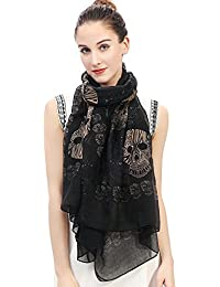 Multi Color Sugar Skull Print Women's Large Scarf Lightweight