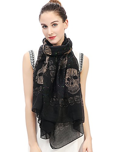 Lina & Lily Multi Color Sugar Skull Print Women's Large Scarf Lightweight (Black) ()