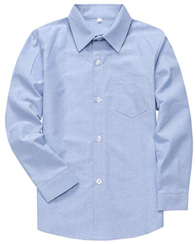 Boys Long Sleeves Button Down Oxford Cotton Dress Shirt White, Tag 130 = 5T -6T for 5-6 ()