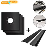 Keliiyo Stove Burner Covers Stove Counter Gap Cover - FDA Approved Burner Protectors & Stove Gap Filler Cover   Seals Spill Guard for Stove, Counter, Washer, Dryer, Heat Resistant & Easy Clean(Black)