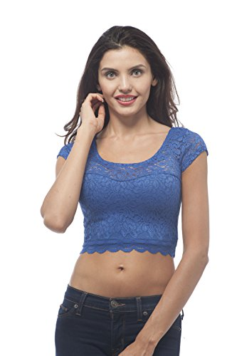 Hollywood Crop (Short sleeve sweet heart neck lace crop top (Large, RoyalBlue))