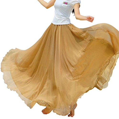 Women's Summer Chiffon Floor Length Big Hem Solid Beach Maxi Skirt (Khaki, One Size) by Bookear